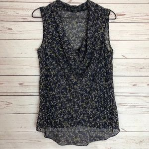 Theory Sheer Printed Cowl Neck Tank Top S